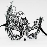 Luxury Black Metal Filigree Masquerade Ball Mask with Diamante Crystals