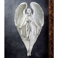 "ANGEL SPIRITUAL HEART WALL FRIEZE SCULPTURE STATUE 16"" www.NEO-MFG.com 