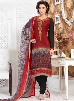Maroon Black Embroidery Work Printed French Crepe Casual   Churidar Suit http://www.angelnx.com/featuredproduct