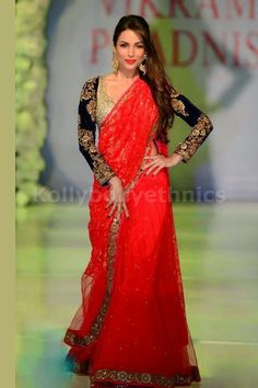 Bollywood Actress Malaika Arora Khan Net Saree in Red color