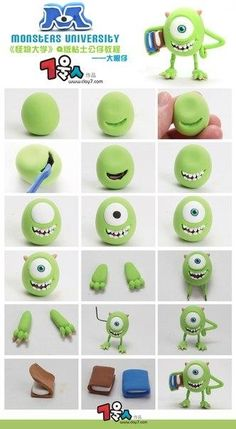 Fimo Fondant Monster Inc. Polymer Clay Projects, Polymer Clay Charms, Diy Clay, Clay Crafts, Cake Topper Tutorial, Fondant Tutorial, Art Tutorial, Fimo Disney, Polymer Clay Disney
