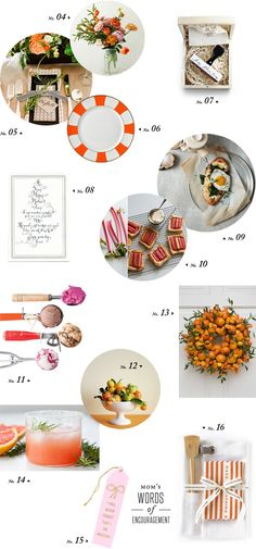 mother's day brunch inspiration with stylist mindy gayer orange yellow flowers stripes calligraphy tarts : roomforty.com : by @mindy gayer