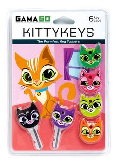 A Lock to Love Key Cap Set by Gama-Go - Multi, Kawaii, Print with Animals, Quirky, Cats, Top Rated