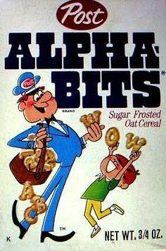 Alpha-Bits cereal c. 1967 This and Sugar Pops were my favorites. Oat Cereal, Cereal Boxes, Crunch Cereal, Lunch Boxes, Vintage Advertisements, Vintage Ads, Vintage Food, Best Memories, Childhood Memories