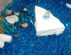 Adventures at home with Mum: Penguin sensory box: styrofoam Ice & waterbeads.