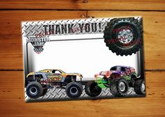 Monster Truck Thank You Card Blank Thank You Birthday Card INSTANT DOWNLOAD Digital File