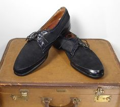 Vintage 1950s Mens French Shriner Gambol Black Suede on Black Leather Shoes Size 12C