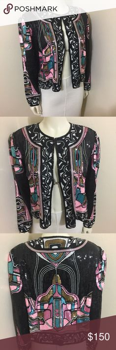 Neiman Marcus Beaded Evening Jacket Pink Black M Label-Vintage 80s Neiman Marcus Fully Beaded Silk Evening Jacket  Style-Open front Evening jacket, hook and eye at neck, fully lined in silk satin. Slightly bell sleeves Size-M on a size 2 manni, fits 4 or 6 Best  Measurements- B and W- Open Length-14 from underarm seam to hem  Color-Black, White, Pink, Yellow       Fabric-100% Silk  Condition-Orig. $1200  Origin-India  From Estate sale of wealthy woman dermatologist. Stored with Black St…