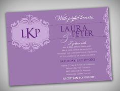 Monogrammed Lilac and Purple Damask 5x7 Printable by elegantprints, $20.00