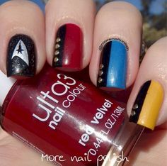 5. Live long and prosper with these classy/nerdy nails for the highly anticipated Star Trek III.