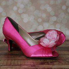 Zapatos bodaFucsia Peep Toe zapatos de la boda con flor rosa