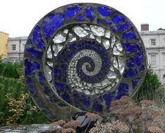 Garden spiral sculpture at Dublin Castle Irish Caisleán Bhaile Átha Cliath in Dublin, Republic of Ireland. #gardensculptures