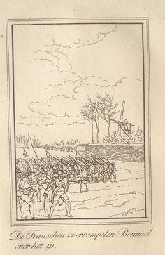 Fransen overrompelen Bommel 1794 over het ijs. Druktechniek, ongedateerd.