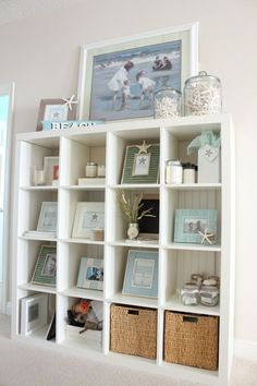 Coastal Shelf at the Starfish Cottage: http://kristyseibert.com/blog/2014/08/starfish-trading-company-headquarters.html