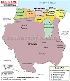 Maps togo cultural anthropology research political map of political map of suriname illustrates the surrounding countries with international borders 10 districts boundaries with their capitals and the national gumiabroncs Choice Image