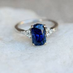 Navy Blue sapphire ring Engagement ring 14k white gold diamond ring 3.47ct cushion blue sapphire ring Campari design by Eidelprecious #sapphireengagementrings