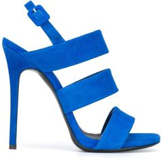 Giuseppe Zanotti Design strappy sandals ($558) ❤ liked on Polyvore featuring shoes, sandals, heels, blue, ankle strap sandals, ankle strap stilettos, strap sandals, open toe sandals and strap heel sandals