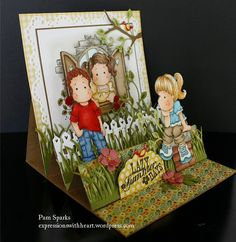 Easel card with two mini easel add ons… | Expressions With Heart. Click picture for instructions and video