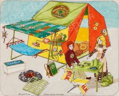 Rare!! ORIGINAL 1975 SUNSHINE FAMILY DOLL CAMPING TENT SET CONCEPT ART! Vintage