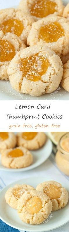 These soft and chewy lemon curd thumbprint cookies are grain-free and gluten-free.