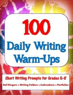 "This packet features a set of 100 short writing prompts or what I like to call ""daily warm-ups."" Use them as bell ringer assignments, icebreakers at the beginning of the school year, or in long-term writing projects such as writing folders and portfolios.  There are two main parts of this packet: (1) a four-page list of all 100 prompts which might be used as part of a writing folder assignment and (2) a set of task cards that can be easily printed, cut, and shared with students."