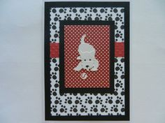 White West Highland Terrier dog Handmade Greeting Card with paw prints - blank any occasion or to welcome a new dog