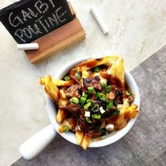 Galbi poutine - gravy fries with cheese topped with tender galbi