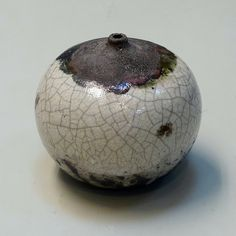 Raku Round Bottle by Chris Lo