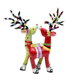 Another great find on #zulily! Red & Green Magnetic Deer Salt & Pepper Shakers #zulilyfinds