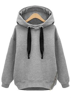 Grey Hooded Long Sleeve Drawstring Loose Sweatshirt US$25.33