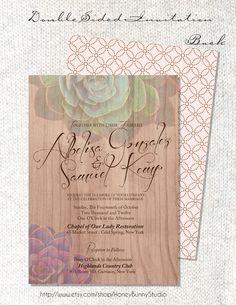 Succulent wedding invitation 5x7.Digital. Country. Nature. Rustic. HoneyBunnyStudio.