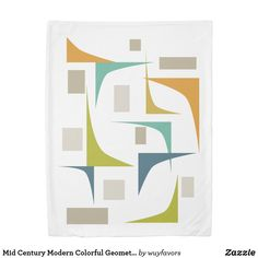 This mid century modern duvet cover features geometric corners and rectangles in colors popular in the mid 20th century - turquoise, orange, tan, avocado green and blue. This will make a fabulous and colorful addition to your bedroom! #midcentury #bedroomdecor #retro