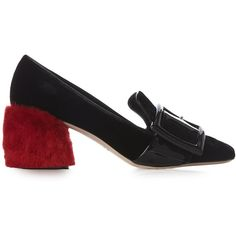 Miu Miu Fur-heel velvet block-heel loafers (€750) ❤ liked on Polyvore featuring shoes and loafers