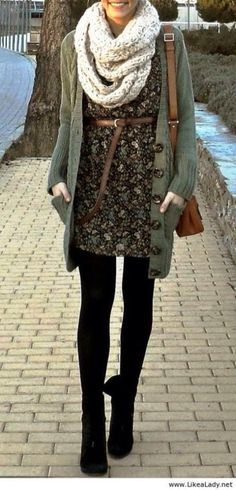 White scarf, cardigan, dress and black leggings. Love the cardigan