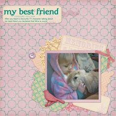 Made using My Favourite Things kit. http://www.pixelscrapper.com/kathie-gray/gallery/my-best-friend-layout-kids-rabbit-tags-ribbon-bird-pink-purple-blue