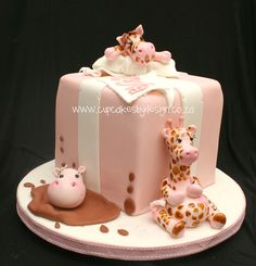 Animal Christening cake side view by Gracescakes