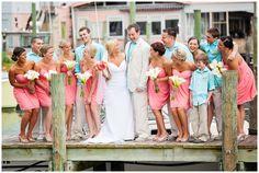 coral aqua wedding. I LOVE this color combo. So beachy!