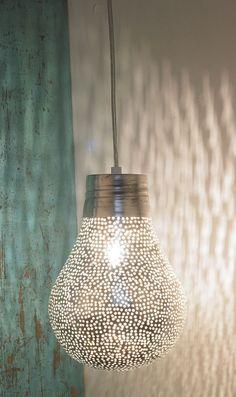 Plümo; silver pear light made from pierced silver metal
