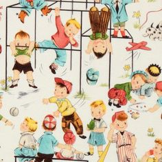 cute Michael Miller vintage fabric children playground  designer fabric with many children on the playground
