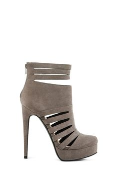 Strapped and so sexy, Evangela is a bold platform bootie with a triple ankle strap and strappy side cutout detailing. l JustFab