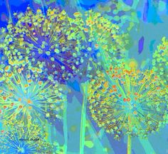 Blue Floral Abstract Art Allium Flower Digital от GrayWolfGallery, $54.00