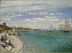 """https://www.facebook.com/Claude.Monet.MiaFeigelson.Gallery  """"Regatta at Sainte-Adresse"""" (1867) By Claude Monet, from Paris (1840 - 1926) - oil on canvas; 75.2 x 101.6 cm; 29 5/8 x 40 in - Place of creation: Sainte- Adresse, Haute-Normandie, France © The Metropolitan Museum of Art, New York Bequest of William Church Osborn, 1951 http://www.metmuseum.org/ https://www.facebook.com/metmuseum"""
