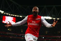 Thierry Henry of Arsenal celebrates scoring during the FA Cup Third Round match between Arsenal and Leeds United at the Emirates Stadium on January 2012 in London, England. Get premium, high resolution news photos at Getty Images Arsenal Goal, Arsenal Players, Arsenal Football, Thierry Henry Arsenal, Robin Van, Sports Channel, Soccer Stars, English Premier League, Fa Cup
