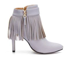 Yoins Yoins Grey Fringed Pointed Heeled Ankle Boots (185 SAR) ❤ liked on Polyvore featuring shoes, boots, ankle booties, grey, gray boots, grey bootie, gray fringe boots, fringe booties and short fringe boots