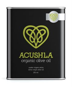 Acushla Olive Oil Tin // 16 Simply Stunning All-Black Packaging Designs Olive Oil Packaging, Black Packaging, Cool Packaging, Design Packaging, Packaging Design Inspiration, Graphic Design Inspiration, Industrial Packaging, Olive Oil Bottles, Branding