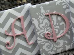 Pink & grey nursery w chevron Cute fabric to put monogram on