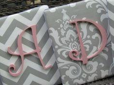 Pink & grey nursery w chevron Cute fabric to put monogram on