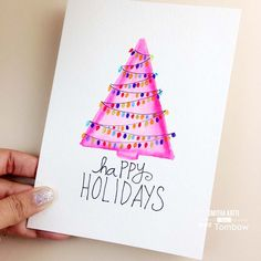 Make your own unique handmade watercolored holiday cards by following this simple DIY Hand Painted Holiday cards tutorial on @tombowusa's blog
