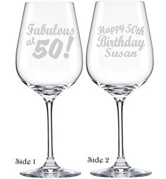 Fabulous At 50 50th Birthday Wine Gl By Personalizedgiftsus Favors Gifts