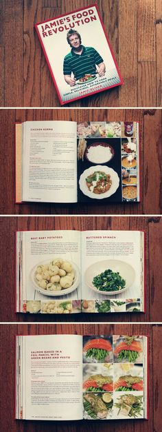 Jamie Oliver Cookbook - Rustic, clean, simple, colourful, colour filter used.